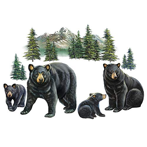 Collections Etc Bear Family and Mountain Scene Garage Door Magnets - Set of 4, Removable and Reusable Outdoor Decorative Accents ()