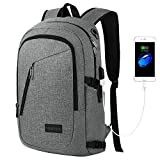 Business Laptop Backpack, Travel School College Bag with Headphone Port and USB Charging Hole, Ecofriendly Water Resistant Bookbag for Women / Men, Fits 15.6 Inch Laptop / Notebook by Yorepek (Gray)