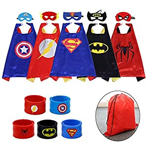 Kids Dress up Costumes Cartoon Capes Set with Masks Wristbands and a Bag for Party Boys Girls Birthday 5PCS