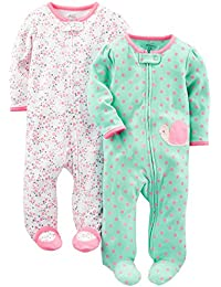 Girls' 2-Pack Cotton Footed Sleep Play