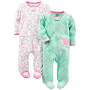 Simple Joys by Carter's Baby Girls' 2-Pack Cotton Footed Sleep and Play, Pink Floral/Mint Snail, 6-9 Months