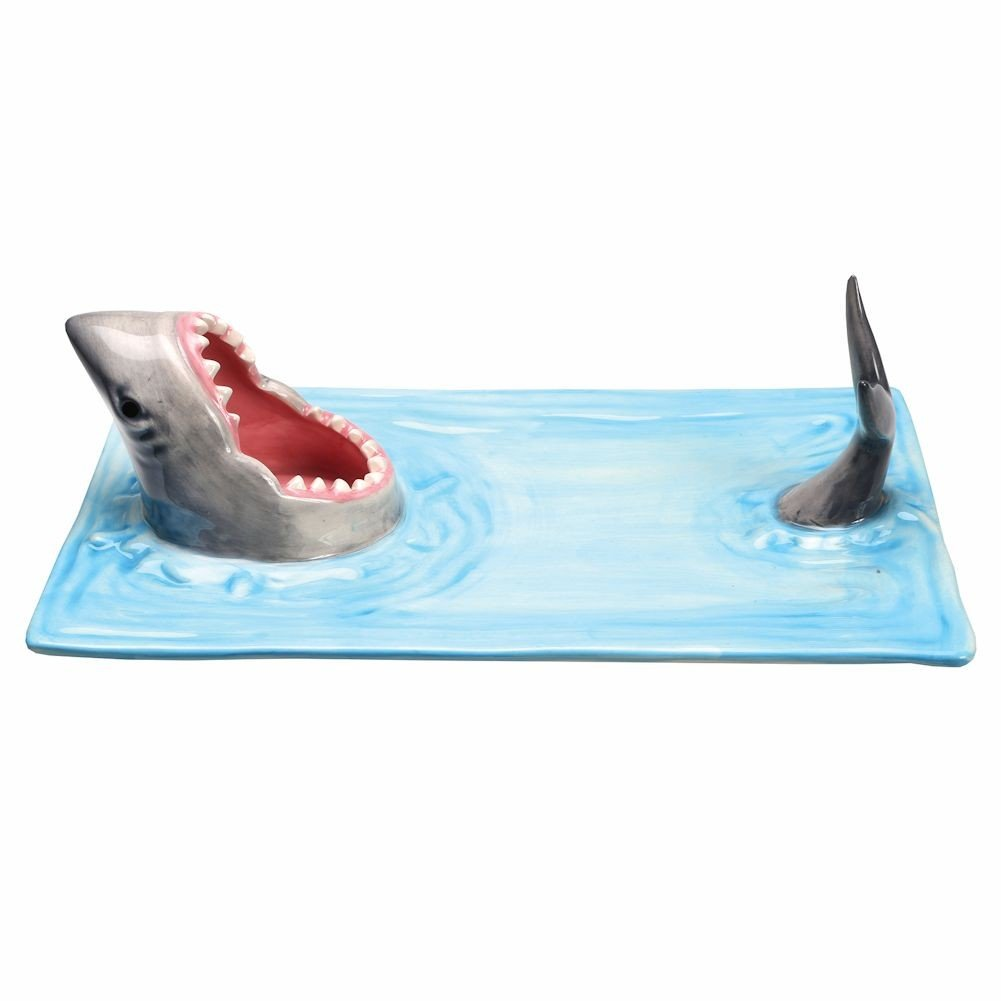 WHAT ON EARTH Shark Attack Hand-Painted Ceramic Sushi Serving Platter