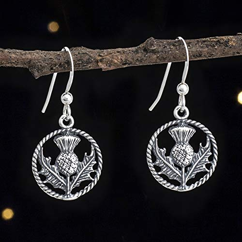 Jewellery Thistle Scottish (Sterling Silver Scottish Thistle Earrings - Small, Double Sided - Solid .925 Sterling Silver, Ready to Ship)