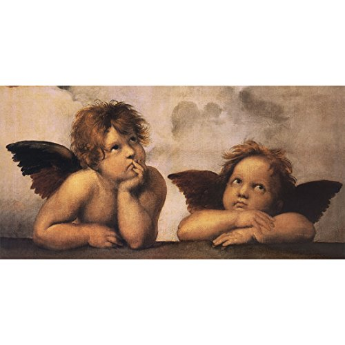 Meishe Art Two Angels Cherubs by Raphael Oil Painting Reproduction Giclee Canvas Prints Religious Wall Art Artwork Pictures (22.05'' x -