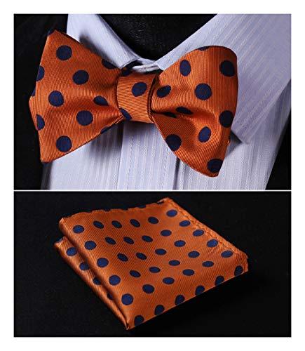 Enmain Men's Dot Bowtie Jacquard Woven Party Self Bow Tie Set Orange