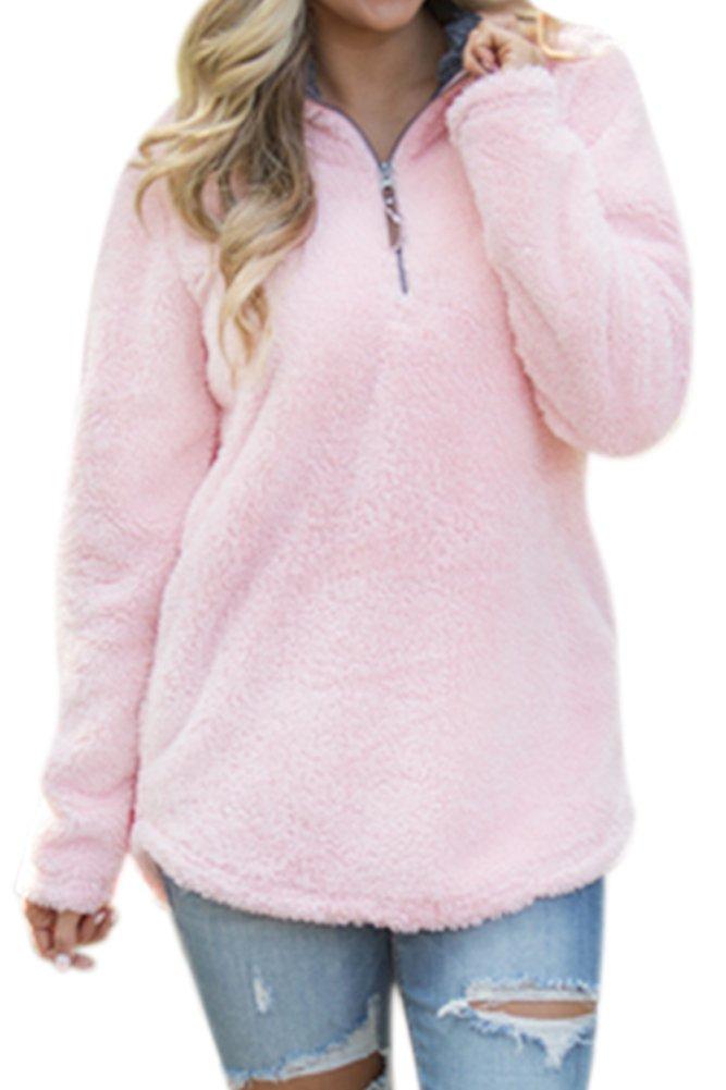Women's Casual Fleece Solid Pullover Top Zip Outwear Sherpa Sweatshirt with Pockets Pink XL by Spadehill (Image #2)