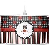 RNK Shops Ladybugs & Stripes Drum Pendant Lamp Linen (Personalized)