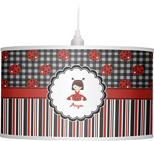 RNK Shops Ladybugs & Stripes Drum Pendant Lamp Linen (Personalized) by RNK Shops