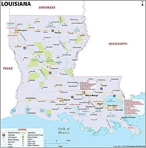 Amazon.com : Louisiana Map (36\