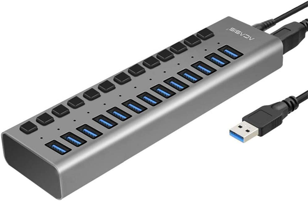 Multiport USB Hub 10 Port 13 Port 16 Port USB 3.0 Port Power Multi-Interface Expansion and Independent On//Off Switch and Indicator,13port6Apowersupply LPVIE USB Hub