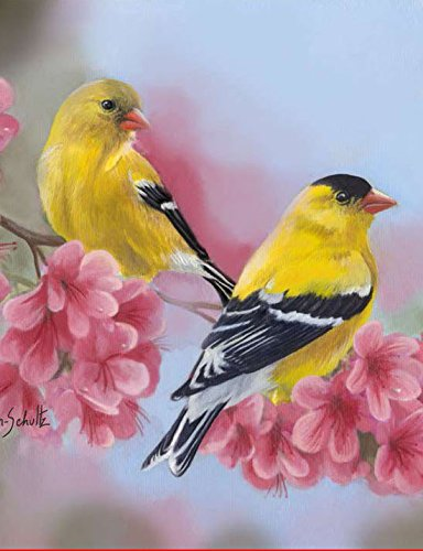 Toland Home Garden 1010418 Goldfinch Blossoms 28 x 40 Inch Decorative, House Flag (28