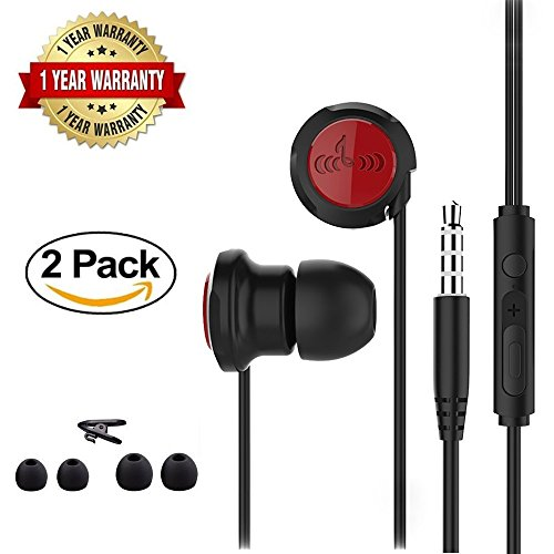 2 Pack In Ear Wired Earphones/Earbuds/Headphones/Headset with Mic and Volume Control,High Definition, Noise Isolating, 3.5mm Stereo Earbuds For iPhone iPad Samsung Android Phones – 2018 UPGRADE