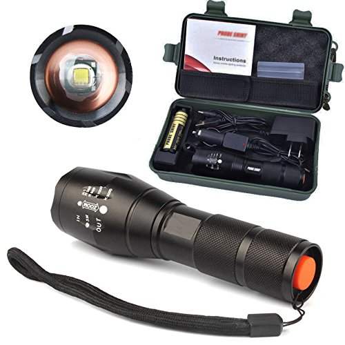 Complete Set Flashlight Set Focus Zoom Safety Roadside Emergency Kit Outdoor Activity Device Checklist Widely used for Explorer, Home, Office, Traveling, Camping, Hiking, Hunting, Riding etc. (Toe Jungle Steel)