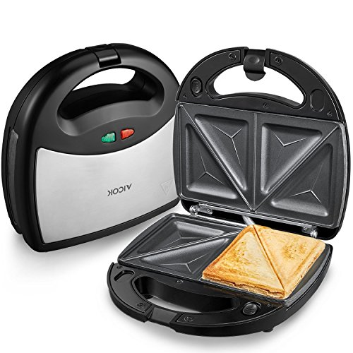 Aicok Sandwich Maker, Panini Press Grill, Waffle Maker, American Toaster Maker, 3-in-1 Detachable Non-stick Coating Table Grill, Mini Maker, Black (Specialty Toaster)