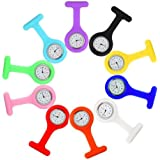 Fob Watches for Nurses, 10 Pcs/Set Clip on Nurse Watches for Women Men, Unisex Portable Silicone Clip-on Quartz Watches…