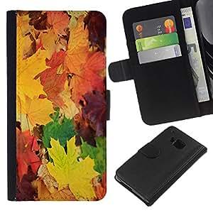 All Phone Most Case / Oferta Especial Cáscara Funda de cuero Monedero Cubierta de proteccion Caso / Wallet Case for HTC One M7 // Leaves Maple Golden Yellow