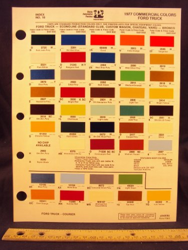 1977 FORD Truck, Courier, Econoline Van (Standard Club, Custom Club, Chateau), & Bronco Paint Colors Chip Page