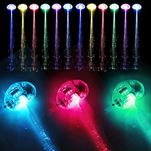 Efanr 12 Pack Light-Up Fiber Optic LED Hair