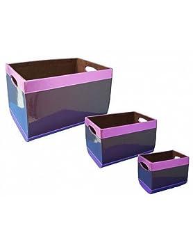 ARTE REGAL Cajas de almacenamiento de color Morado Metálico, diferentes tamaños. Originales/Vintage