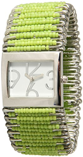 Safety Pins Watch with Beads and Rectangle Face White Dial (Lime Green)