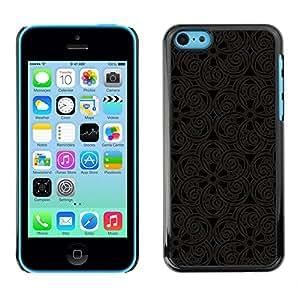 Qstar Arte & diseño plástico duro Fundas Cover Cubre Hard Case Cover para Apple iPhone 5C ( Pattern Oriental Carving Lace Interior Design Art)