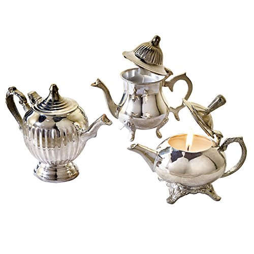 Victorian Trading Co Les Petites Silverplate Teapot Vanilla Candles (set of 3)