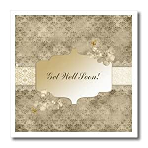 ht_180939_1 Beverly Turner Get Well Design - Get Well Soon on Banner, Sepia with Flowers, Gold Bees on Damask Background - Iron on Heat Transfers - 8x8 Iron on Heat Transfer for White Material