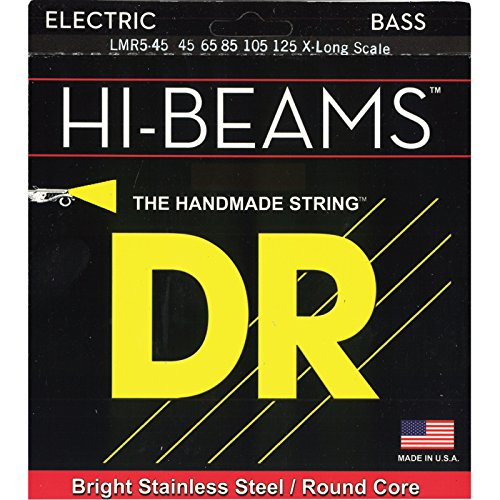 DR Strings Hi-Beam - Extra Long Scale Stainless Steel Round Core 5 String 45-125 by DR Strings