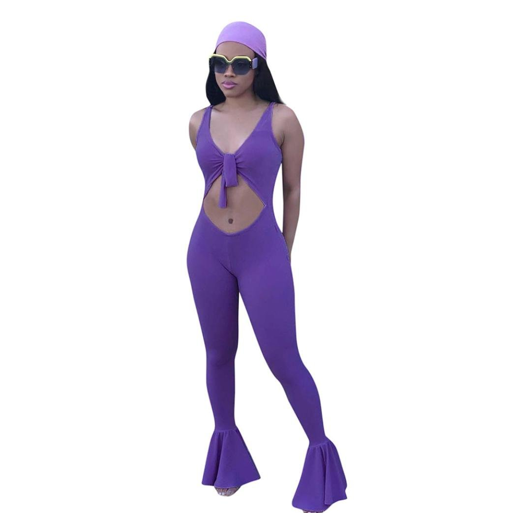 Minisoya Women Casual Backless Cut Out Bandage Overalls Romper Clubwear Flare Trouser Bell-Bottom Jumpsuit Playsuit (Purple, S)