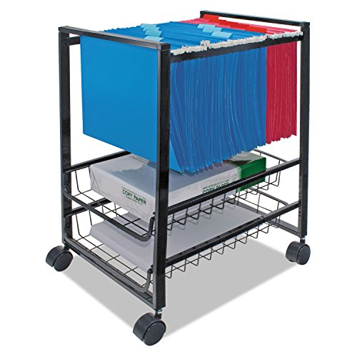 Advantusamp;reg; Mobile File Cart w/Sliding Baskets, 16w x13d x 19-1/2h, Black ()