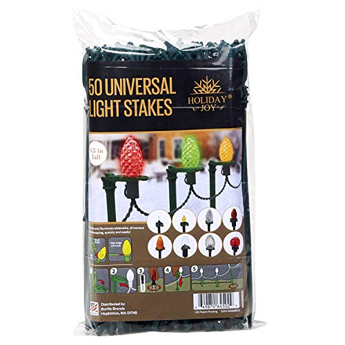Holiday Joy - 50 Universal Light Lawn Stakes for Holiday String Lights on Yards, Driveways & Pathways - 8.5