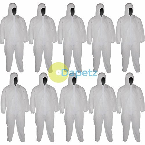Dapetz ® 10 Disposable Paper Suit Protective Overall Coveralls Large 128Cm 50'
