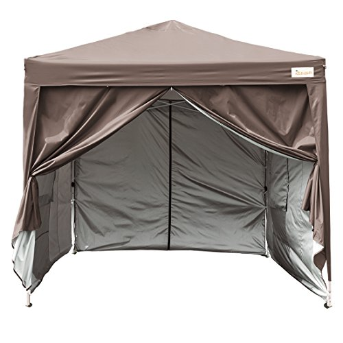 Kingbird 10x10 ft Easy Pop up Canopy Waterproof Party Tent 4 Removable Walls Mesh Windows with Carry Bag-7 Colors (coffee) (Gazebo Zip Frame)