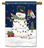 Joyful Christmas Snowman Lights Winter 28″ x 40″ Outdoor House Flag For Sale