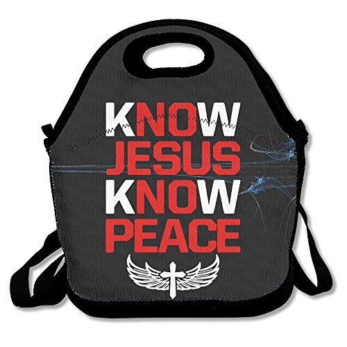 Waterproof Outdoor Travel Picnic Cool Pocket Canvas Know Jesus Know Peace With Zipper And Adjustable Crossbody (Soda Can Group Costume)