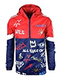SCREENSHOTBRAND-S51801 Color Block Lightweight Graffiti Print Windbreaker Jacket-Navy-2XLarge