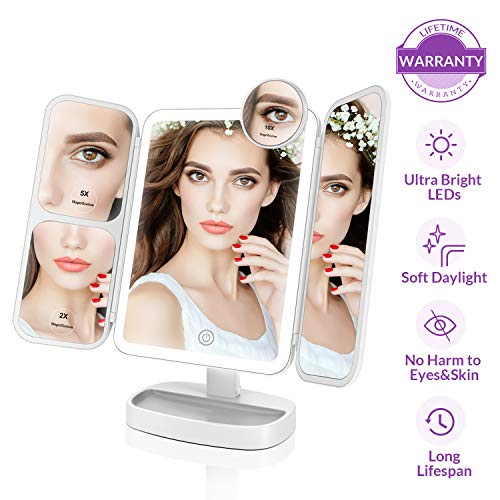 Easehold Makeup Vanity Mirror with Lights 38 LED 1X/2X/5X/10X Magnifying Soft Natural Light Ultra-Thin Stable Base Portable 180 and 90 Rotation Touch Screen Dual Power Supply -