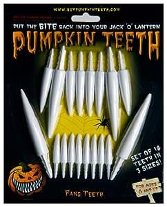 Halloween Pumpkin Carving Kit - Pumpkin Teeth for your Jack O' Lantern - Set of 18 White Fang Teeth