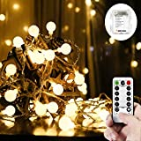 WERTIOO 33ft 100 LEDs Battery Operated String Lights Globe Fairy Lights with Remote Control for Outdoor/Indoor Bedroom,Garden,Christmas Tree[8 Modes,Timer ](warmwhite)