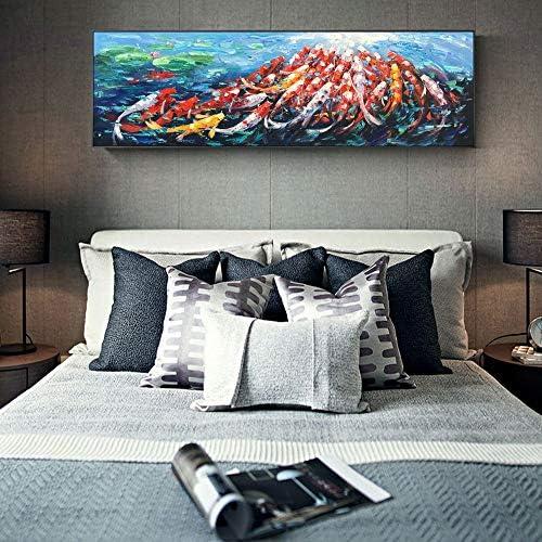 現代のFish魚キャンバス絵画壁に抽象魚動物ポップアートキャンバス写真用リビングルーム寝室50×150センチなしフレーム