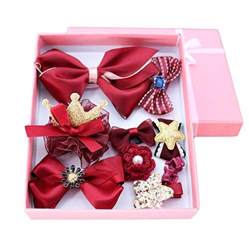 Baby Hairpins Girl Princess Hair Clips Baby Mini Barrettes Pins Box Set-10 Pcs JB51 (1-Wine Red) Princess Mini Wine
