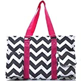 NGIL Chevron Stripe Canvas Multipurpose Utility Tote Bag Shopping Travel