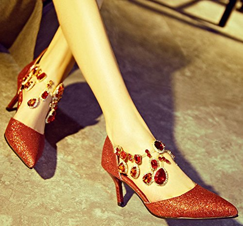 Closed Red Pumps Womens Heels Toe Kitten Buckle Sexy Stiletto IDIFU Shoes Pointed Sequined Rhinestones FXqx6nZaw