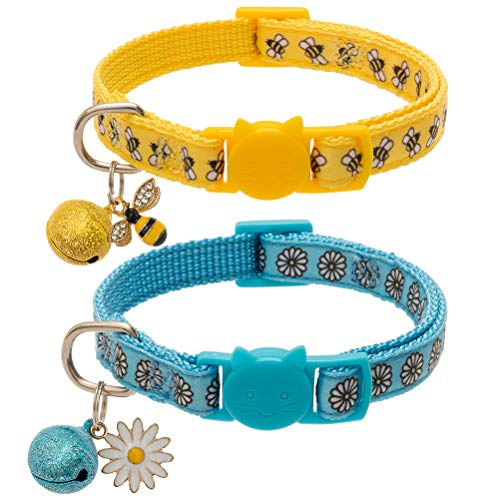 EXPAWLORER 2Pcs Breakaway Cat Collar Safety Quick Release Buckle Bee Small Daisy Pattern with Cute Accessories Blue and Yellow for Cats