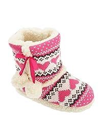 Slumberzzz Childrens Girls Fair Isle Pattern Slipper Boots