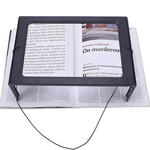 - Magnifying Glass Hands-Free Large Rectangular Full-Page Magnifier LED Lighted Illuminated Foldable 3X Desktop Portable for Elder Kids