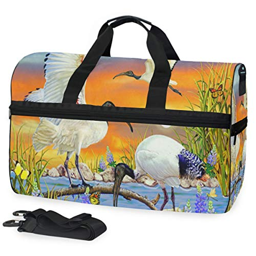 Red-Crowned Crane Gym Bag with Shoes Compartment Sports Swim Travel Overnight Duffels ()