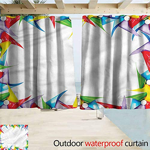 (MaryMunger Custom Curtain Pinwheel Colorful Figure in Square Blackout Draperies for Bedroom W55x39L Inches)