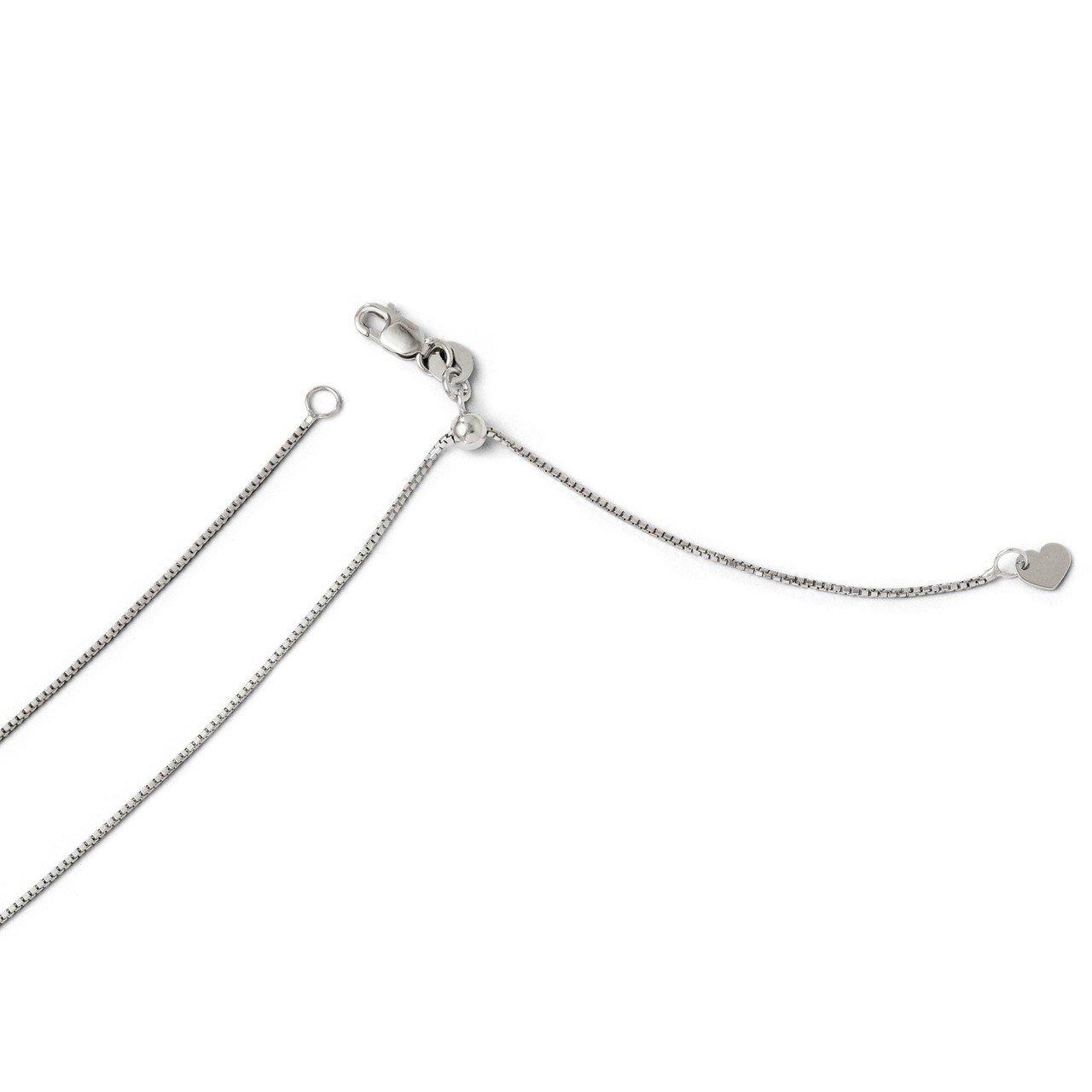 Lex & Lu Leslie's 14k White Gold Adjustable Box Chain Necklace LAL92098-Prime