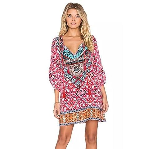 Geometric Pattern Print Dress,Laimeng Women Chiffon 3/4 Sleeves Vintage Loose Summer Dress (XL, Hot (Dresses With Geometric Pattern)